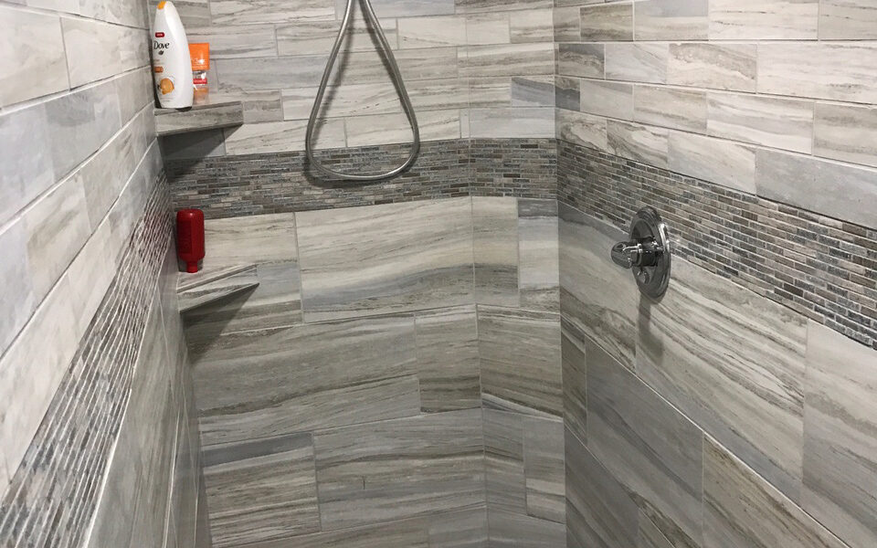 Flow Rectified Porcelain Tile Shower - Elysium Jewel Accent